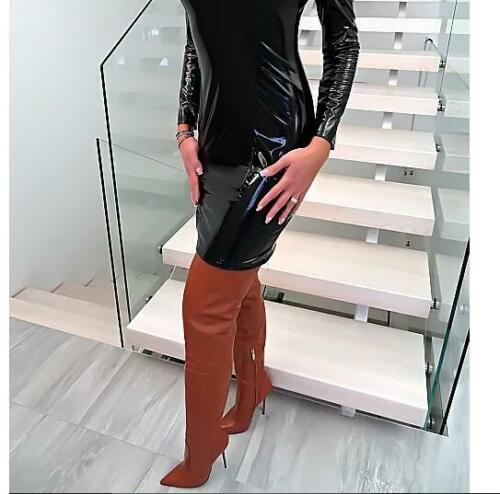 Women Pointy Toe High Stiletto Heel Over Knee Thigh Party Shoes PU Leather Boots