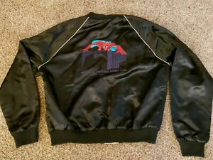 9eb9a278d Details about MARVEL Vintage Spiderman Wool Black Bomber Jacket XL  Outstanding Con Comic Con