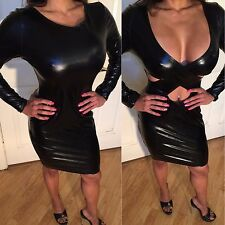 Connie's  REVERSIBLE Long Sleeve Stretch Wet leather look Black Mini Dress  L