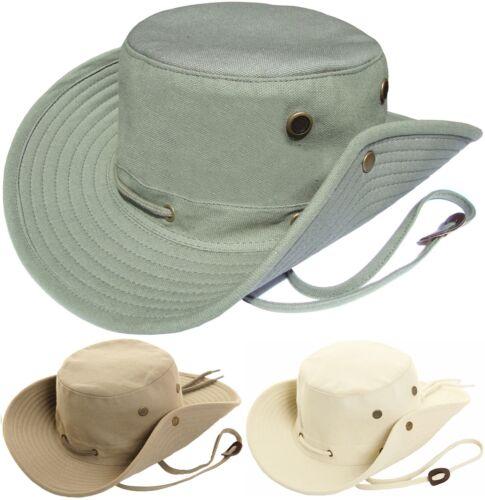 Mens Aussie Bush Hat 100/% Cotton Wide Brim Safari Sun Cap Australian Summer Hat