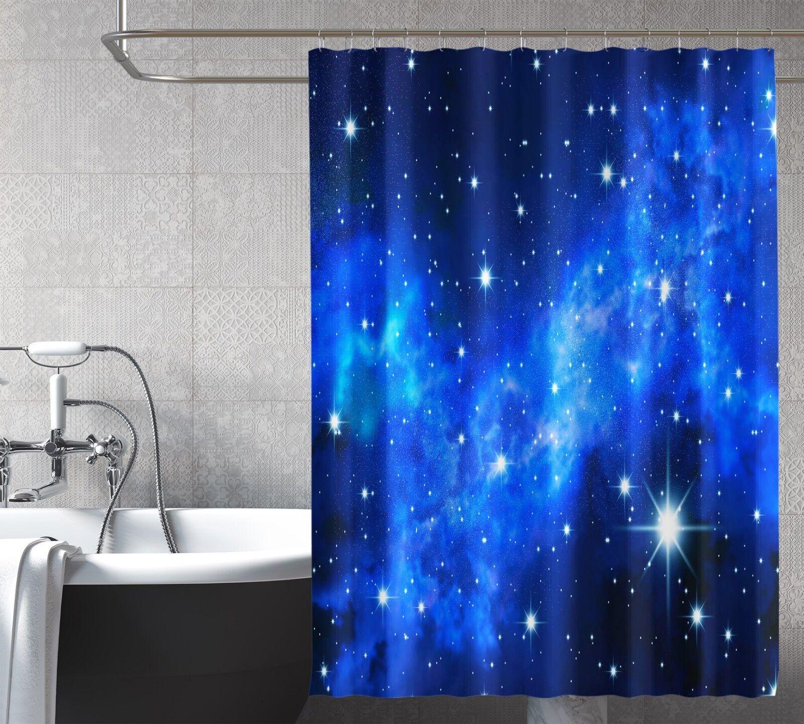 3D Blau Galaxy 79 Shower Curtain Waterproof Fiber Bathroom Home Windows Toilet