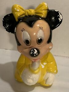 """Vintage Minnie Mouse Chalkware Coin Bank Mid Century 9 1/2"""""""