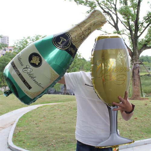 Hot Foil Balloons Champagne Bottle Wedding Birthday Christmas Party Decor Gifts