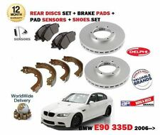 FOR BMW 335D E90 2006- NEW REAR BRAKE DISCS SET + PADS + PAD SENSOR + SHOES KIT