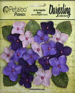 PURPLE-18-HYDRANGEAS-Paper-Flowers-25-35mm-amp-6-Leaves-25x30mm-Darjeeling-Petaloo