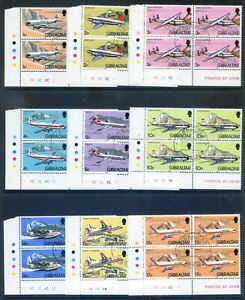Gibraltar 1982 Aircraft to £5 15v in fine used plate blocks 4 (2020/12/11#05)