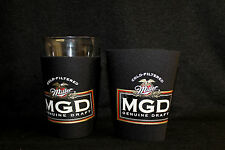 2 Mgd Miller Light Genuine Draft Pint Beer Glass Koozie Koolie Snuggie Huggie