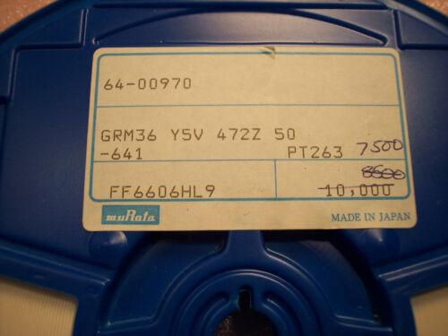 4700pf 50V Y5V CERAMIC MLCC CAPACITORS GRM36Y5V472Z50 MURATA 0402 QTY 200