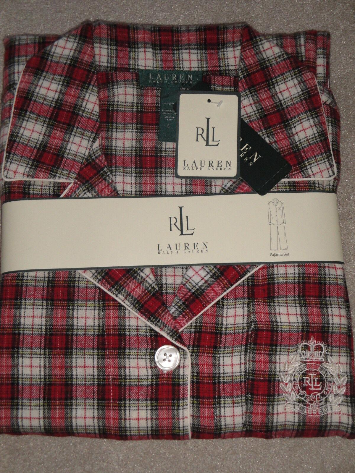 NWT Ralph Lauren COTTON FLANNEL Red Cream Plaid 2pc PAJAMA SET Choose Size