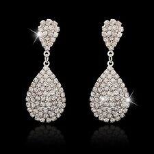 UK BRIDAL/WEDDING Luxury Silver Diamanté/Crystal Pave Large Teardrop Earrings