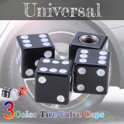 4x Black Dice Auto Car Truck Bike Tire Air Valve Stem Caps Wheel Rims Universal