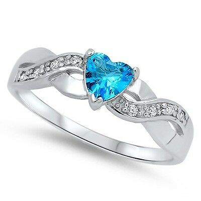 .925 Sterling Silver Infinity Heart Shaped Simulated Blue Topaz CZ Promise Ring