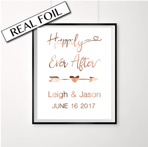 Happily ever after love quote art Engagement Announcement Print in Copper Foil