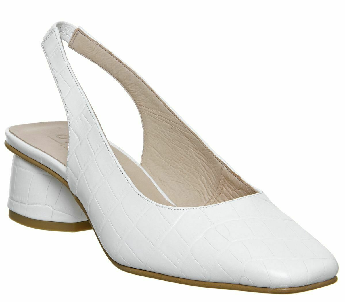 donna Office Manners Slingback Flarosso Court Heels Patent bianca Croc  Leather Hee  prezzi equi
