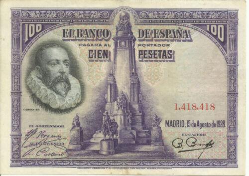 SPAIN 100 pesetas 1928 As scanned 2RF 13AGO