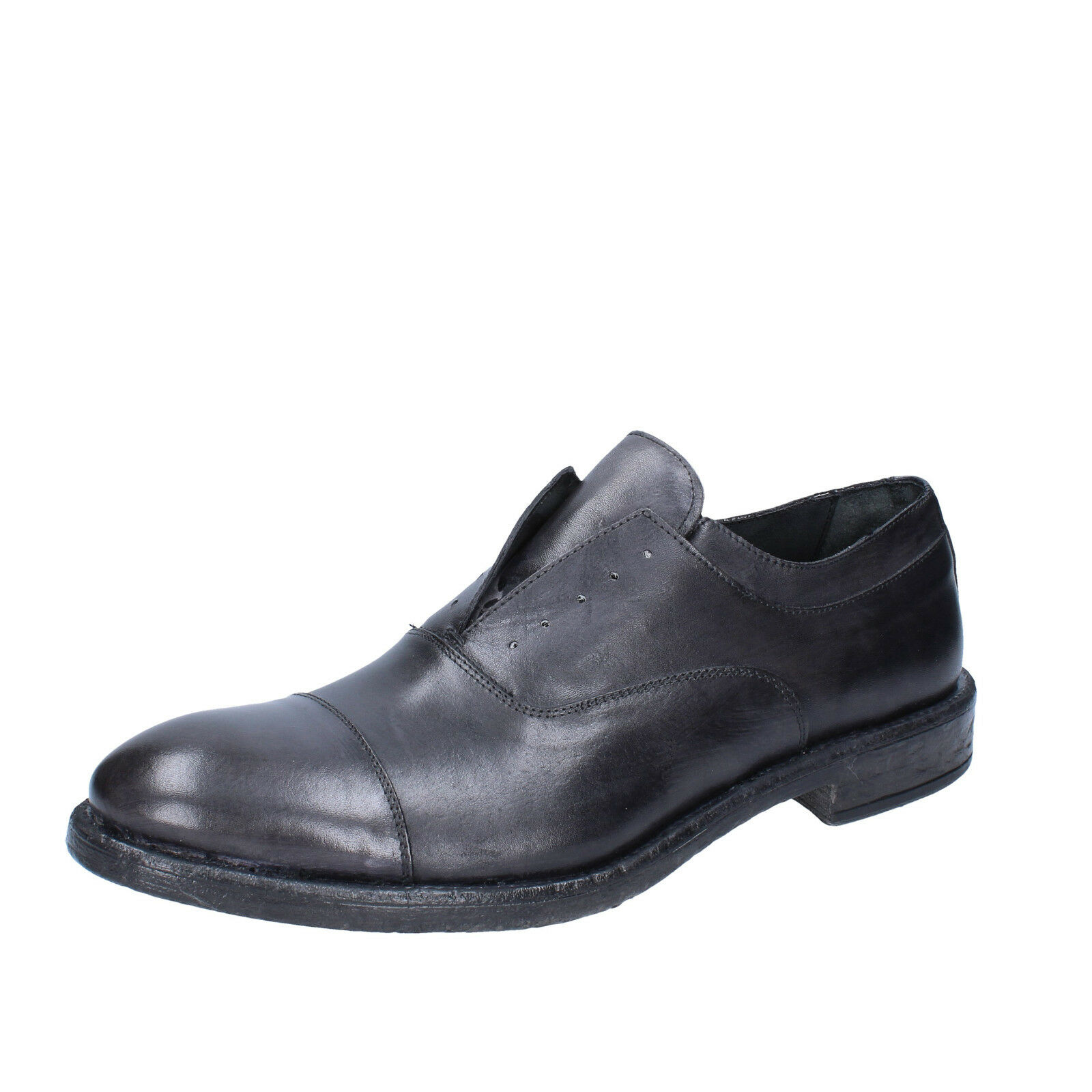 Mens shoes +2 MADE IN ITALY 9 () elegant dark grey leather BX423-43