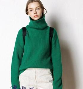 Occident Women 100/%Cashmere High-Collar Thicken Loose Pullover Solid Sweater New