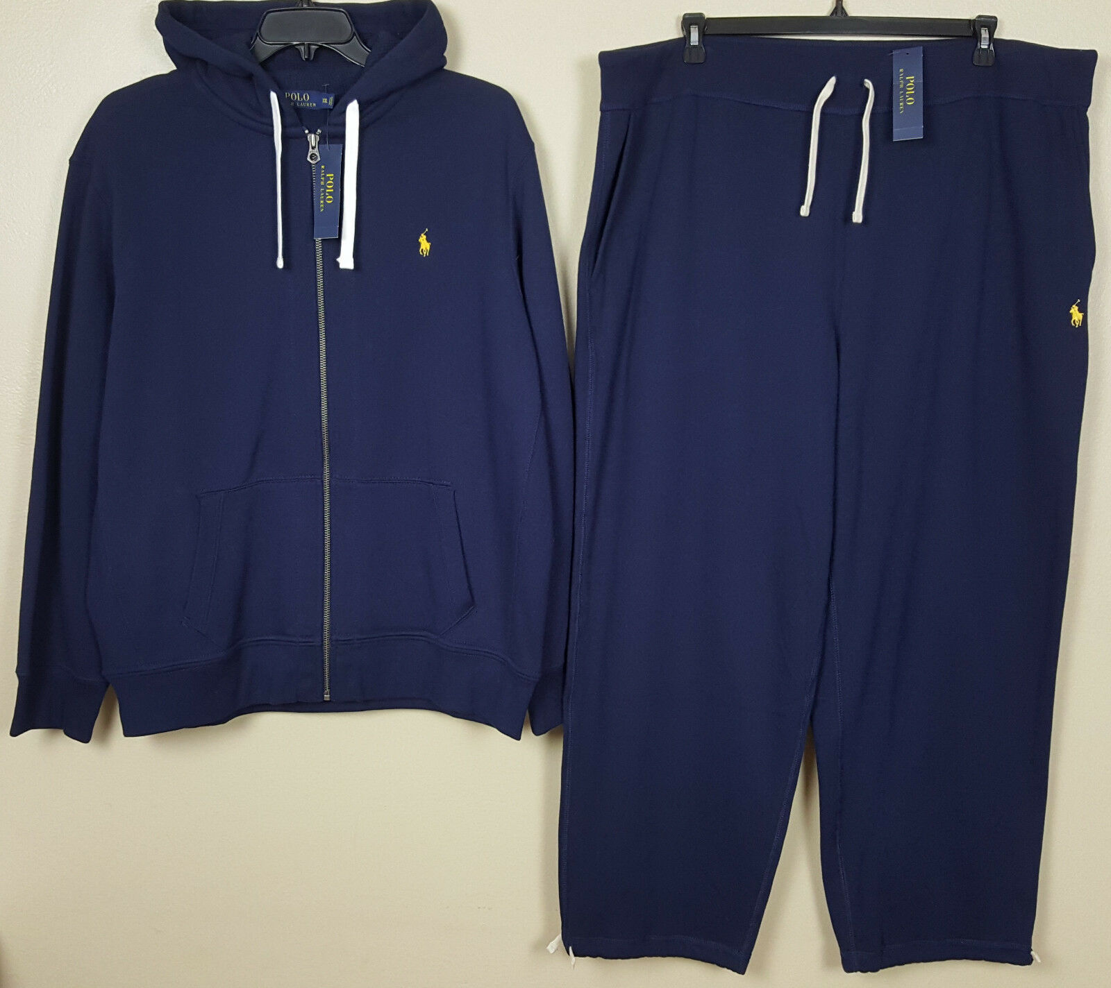 110f4d1c9 POLO RALPH LAUREN SWEATSUIT + PANTS NAVY blueE YELLOW NEW (SIZE 2XL) HOODIE  RARE nzivgo4933-Tracksuits   Sets