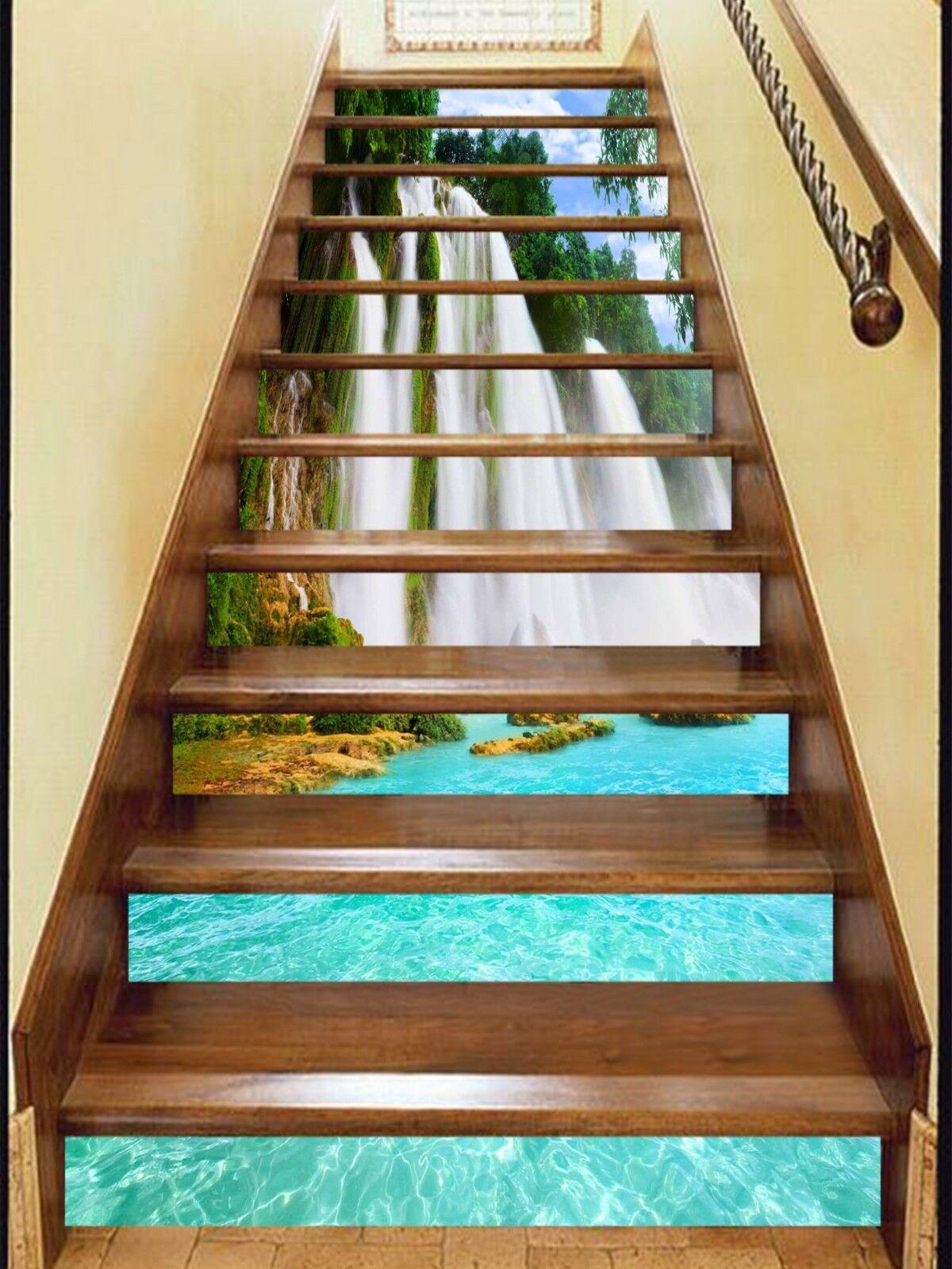 3D Waterfall Lake 9 Stair Risers Decoration Photo Mural Vinyl Decal Wallpaper CA