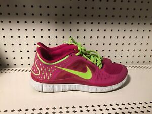 check out a9ff1 c0ae7 Details about Nike Free Run 3 Womens Athletic Running Training Shoes Size 8  Pink Volt
