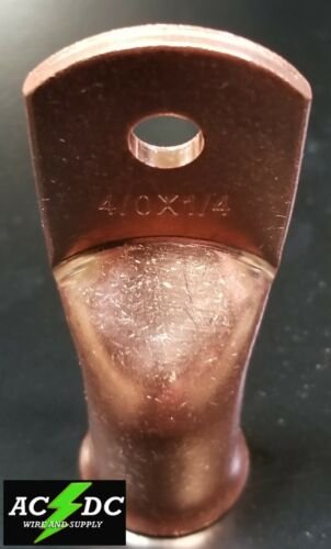 """4//0 gauge Ring 1//4/"""" Hole Terminal BATTERY Lug Bare Copper Un-insulated AWG 10"""