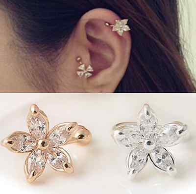 1pc Fashion Crystal Flower Gold Silver Ear Cuff Stud Earring Wrap Clip On Gift