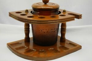 Tobacco-Stand-and-Vintage-Tobacco-Glass-Jar-with-Lid-Holds-7-pipes-Free-Shipping