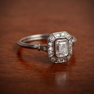 Details about 1.1 Ct Emerald Wire Shank Vintage Art Deco Engagement Ring  925 Sterling Silver
