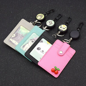 Business ID Badge Card Holder With Retractable Reel Lanyard Keyring Kawaii