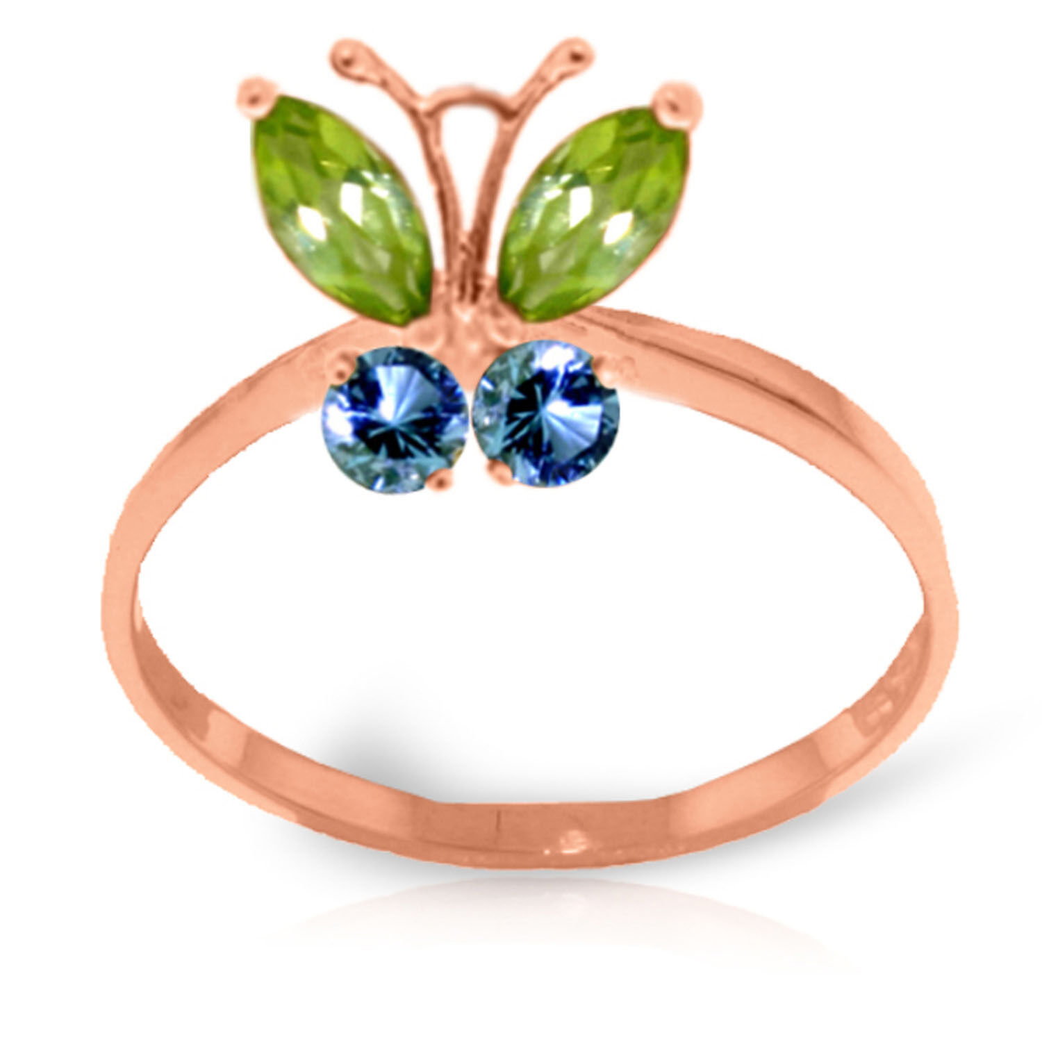 Brand New 0.6 CTW 14K Solid pink gold Butterfly Ring Peridot bluee Topaz