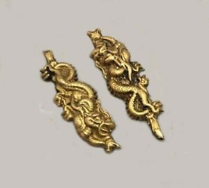 Golden-dragon-Brass-Menuki-For-Japanese-Samurai-sword-Katana-amp-Wakizashi-amp-Tanto