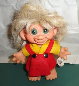 Vintage-1960-039-s-Girl-Bank-Thomas-Dam-7-034-Troll-Doll-Green-Eyes-yellow-red