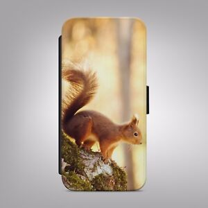 Cute-Red-Squirrel-Wild-Animal-LEATHER-FLIP-PHONE-CASE-COVER-for-IPHONE-SAMSUNG