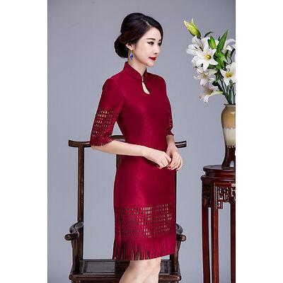 Pink Chinese women's mini dress /Cheongsam evnening dress Sz: 6 8 10 12 14