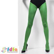 GREEN SHEER OPAQUE TIGHTS PANTYHOSE - women ladies hosiery fancy dress halloween
