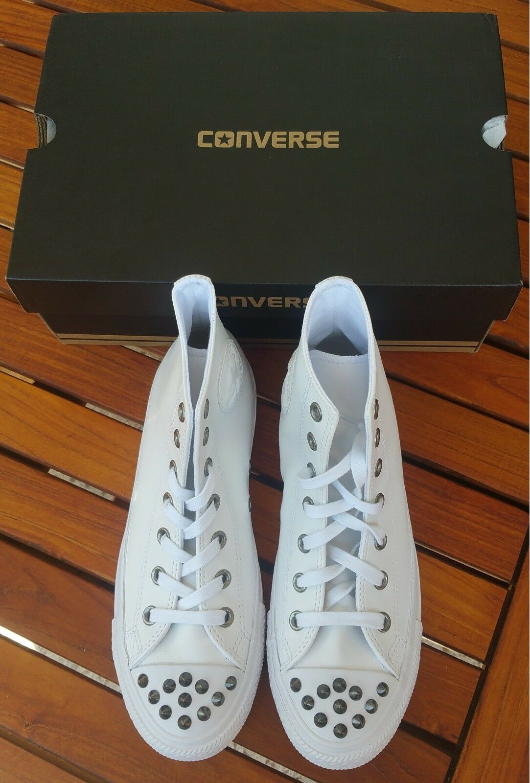 Converse Chuck Taylor All Star Studs scarpe da ginnastica High TG 39 Pelle Bianco neu&ovp | Pratico Ed Economico  | Scolaro/Ragazze Scarpa