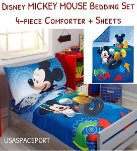 sports shoes 6c423 e37a2 Details about 4pc Disney MICKEY MOUSE Toddler Bed-in-a-Bag COMFORTER+SHEET  Crib Girls/Boys SET