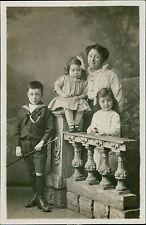Family. Lady. Girls holding rose. Boy Sailor Uniform holding cane.      JE.705
