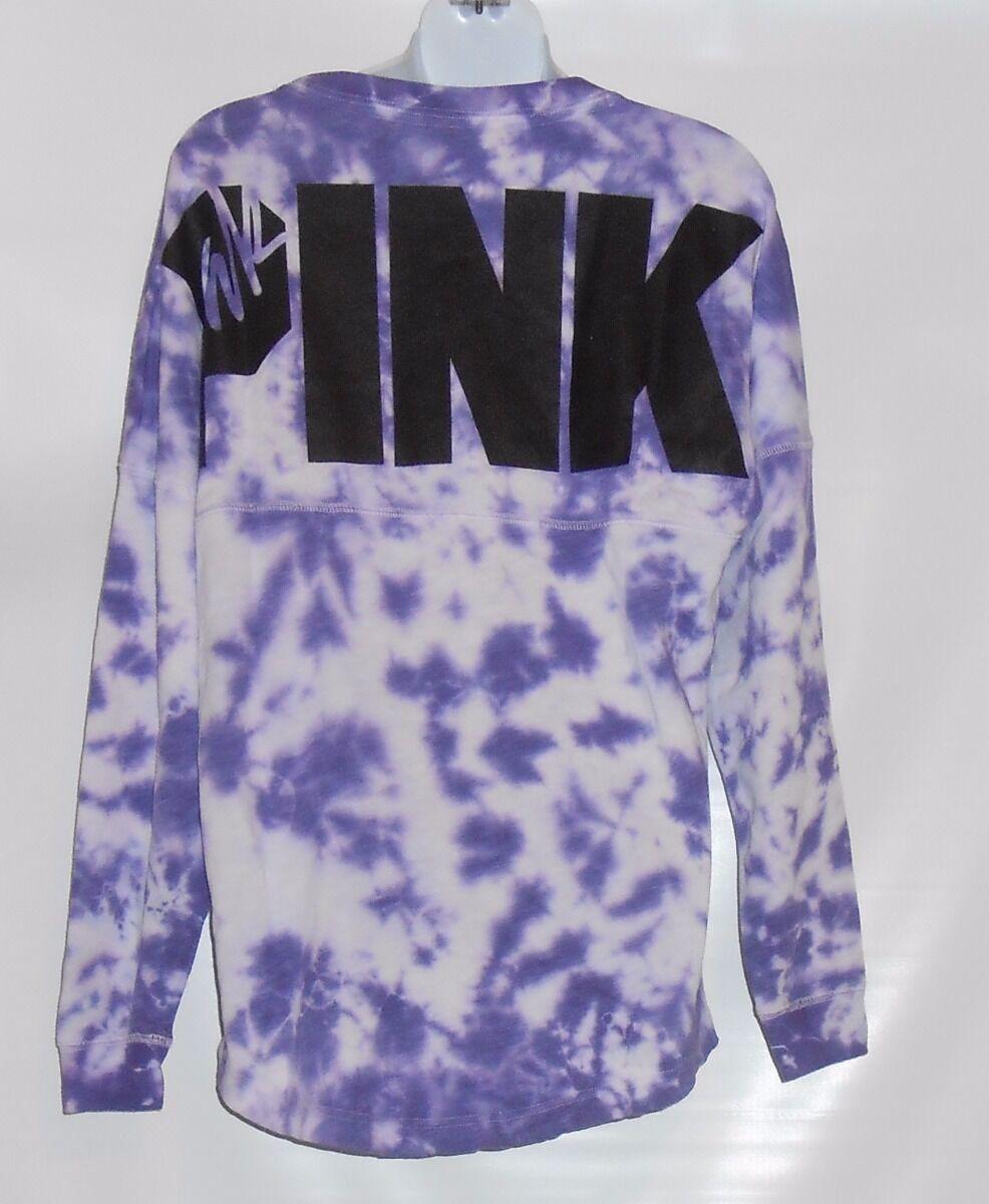 Victoria's Secret Pink French Terry Tie Dye Dye Dye Varsity Crew Purple Small (S) NWT 72f6de