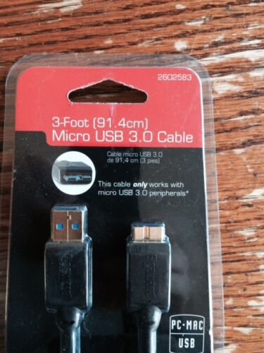 Gigaware 3 foot micro USB 3.0 cable BRAND NEW IN PACKAGE $1.50 dollars  CHEAP!!!