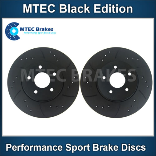 Front Brake Discs Drilled Grooved Black Edition Audi Q5 2.0 TDi Quattro 11//08