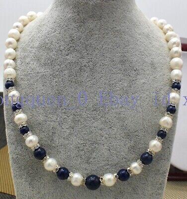 "Natural 7-8mm White Akoya Pearl /& Blue Lapis Lazuli 18X25mm Pendant Necklace 18/"""
