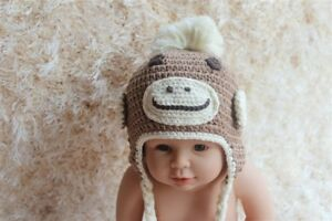 efe4876027e Knit Crochet Newborn Baby Child Kids Sock Monkey Apes Hat Cap Beanie ...