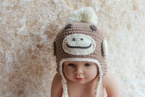 Knit Crochet Newborn Baby Child Kids Sock Monkey Apes Hat Cap Beanie Light Brown
