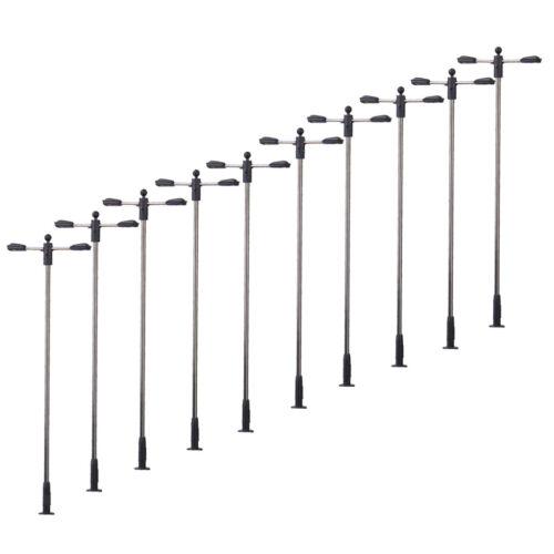 10pcs Modell Straßenlaterne Leuchtet Doppelkopf Für Modelleisenbahn