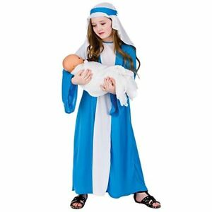 Girls-Virgin-Mary-Costume-Nativity-Christmas-Play-Fancy-Dress-Biblical-Outfit