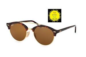 Ray-Ban RB4346-990 33-51 Round Brown Clubround SUNGLASSES W CASE ... 36895fcd32