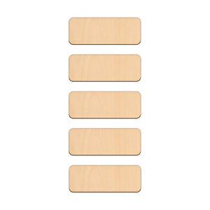 Forma de rectángulo artesanía Blanco 3x8cm signo de placa de madera de abedul etiquetas de nombre