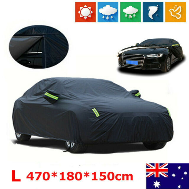 L Black Waterproof Oxford fabric Outdoor Car Cover Thick Rain UV Resistant AU