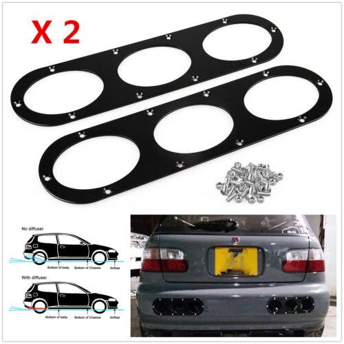 Black 2pcs Aluminum Universal Car Rear Bumper Race  Air Diversion Diffuser Panel